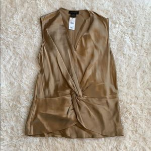 Gold 100% Silk Knotted Tank Size M